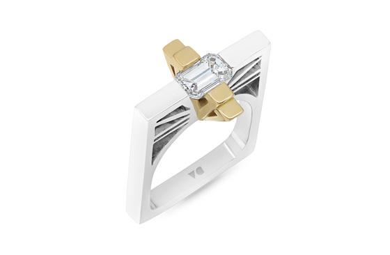 Tribeca: Modern Art Deco Two-Tone Diamond Ring