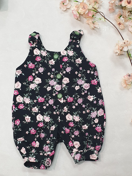 Trinity Overalls - Black Pink Glitter Floral