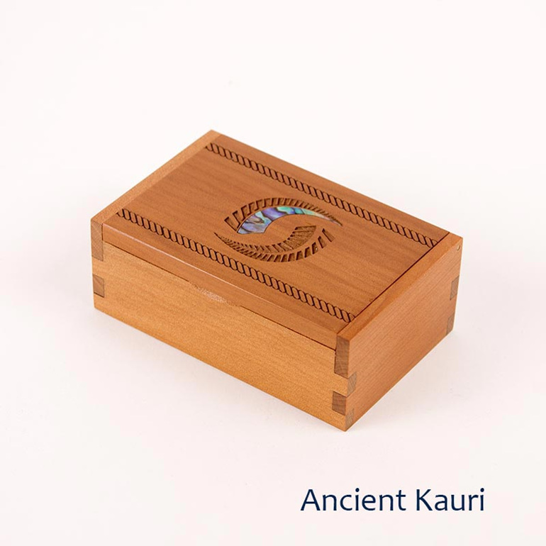 trinket box with fern - ancient kauri