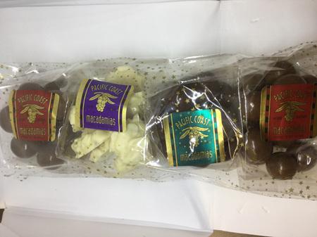 Trio of macadamia clustered chocolates