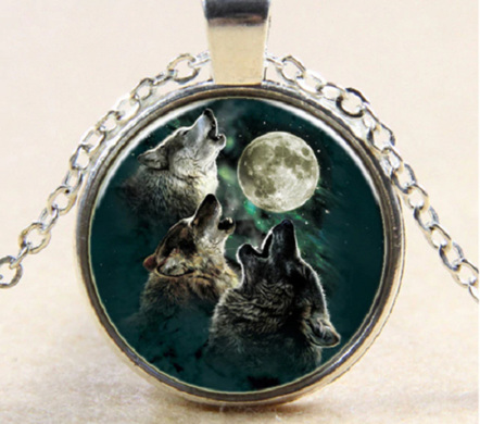 Trio of Wolves Howling at the Moon... NECKLACE - Silver Chain