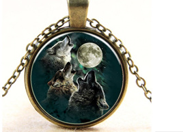 Trio of Wolves Howling at the Moon... NECKLACE - Antique Bronze