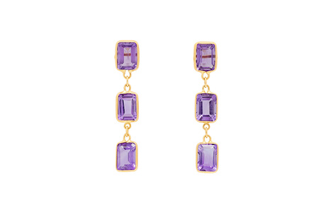 Triple Drop Amethyst Earrings