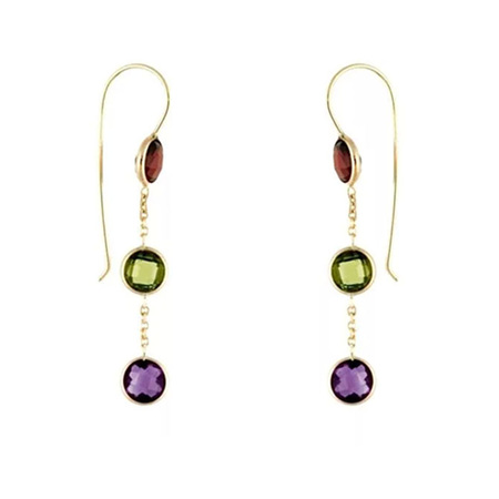 Triple Drop Coloured Gemstone Hook Earrings