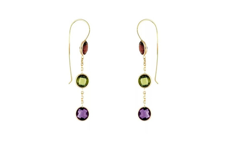 Triple Drop Coloured Gemstone Hook Earrings