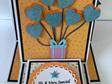Triple Easel Card - Heart Balloons Orange & Blue