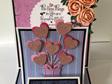 Triple Easel Card - Heart Balloons Pink