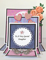 Triple Easel Card - Heart Balloons Pink