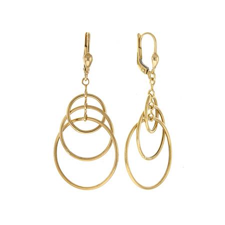 Triple Hoop Dangle Yellow Gold Earrings