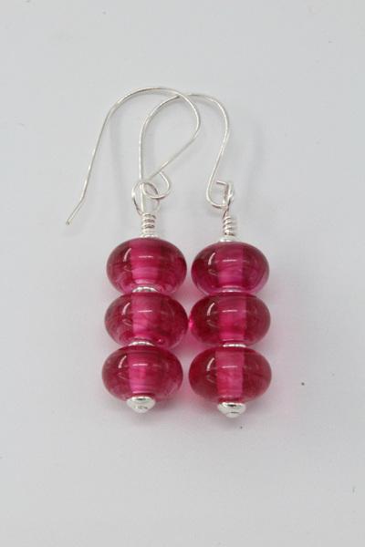 Triple spacer earrings - streaky pink