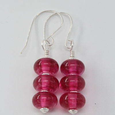 Triple spacer earrings - streaky pink