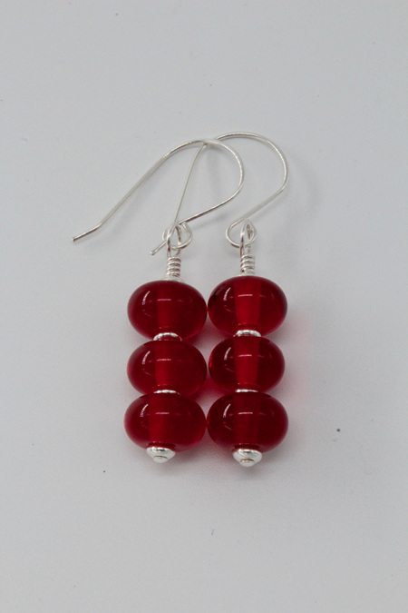 Triple spacer earrings - transparent red