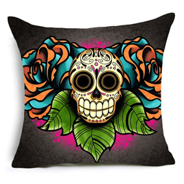 TRIPPLE LEAVES SUGAR SKULL CUSHION COVER