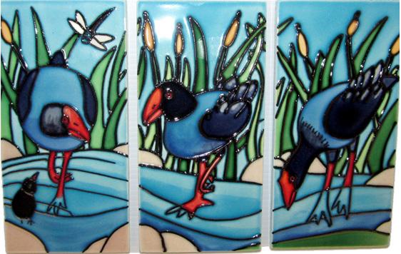 Triptych Pukeko 3 tiles (7.5x15cm.) TR04