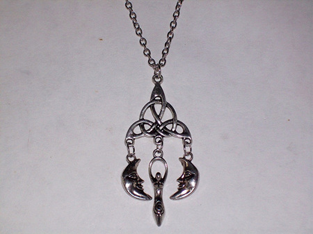 Triquetra With Moon & Goddess Pendant