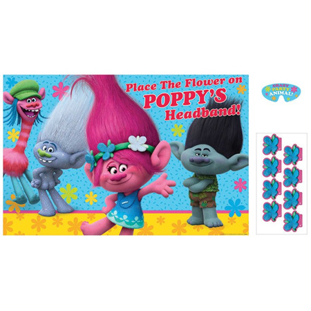 Trolls party game - place the flower on poppy's headband