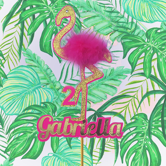 tropical flamingo cake topper personalised custom child birthday
