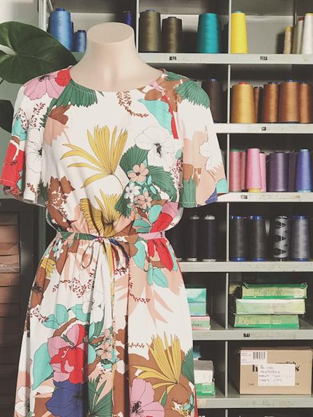 Tropical floral flounce dress