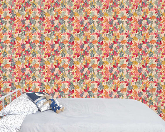 Tropical Jungle and Flamingo wallpaper - pink, with bed and velveteen rabbit