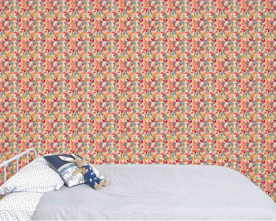 Tropical Jungle and Flamingo wallpaper pink, with bed and velveteen rabbit