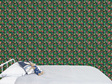 Tropical jungle wallpaper with bed and velveteen rabbit