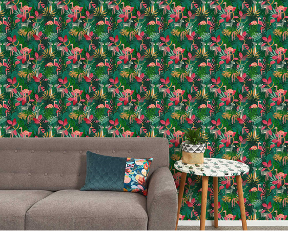 Tropical jungle wallpaper with couch, table and plant