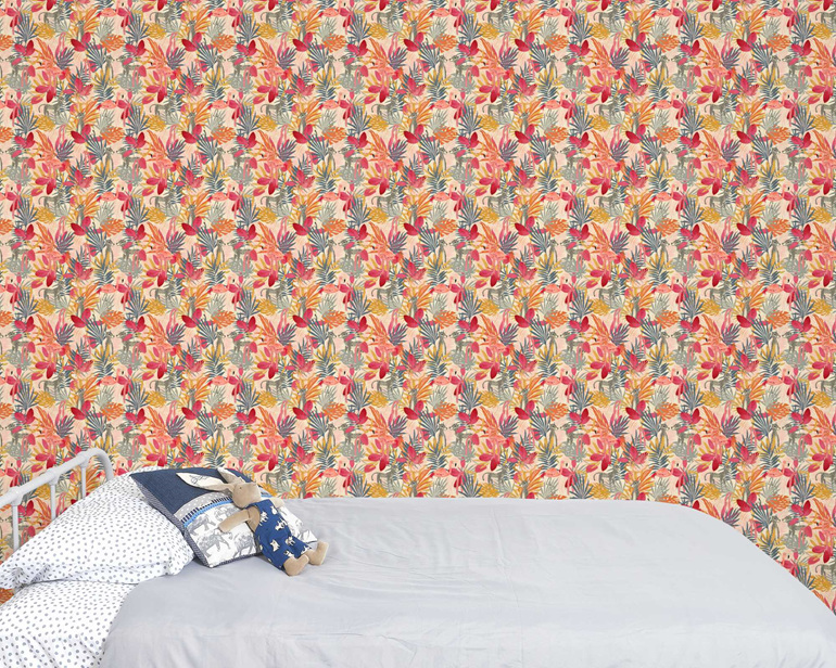 Tropical jungle wallpaper with pink flamingoes