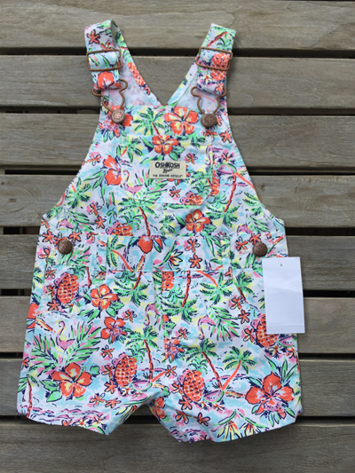 Tropical Pink flamingo OshKosh overalls