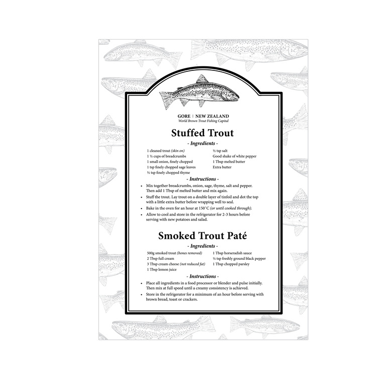 Trout Recipe Tea Towel