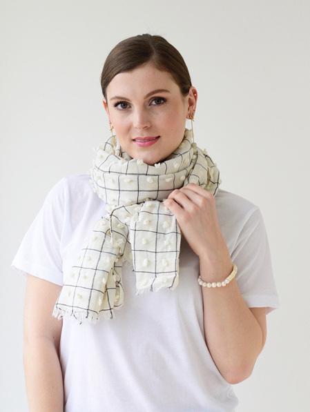 Tuffs & Squares Scarf - White