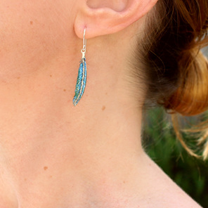 tui feather blue green irridescent long earrings dangle bird nature