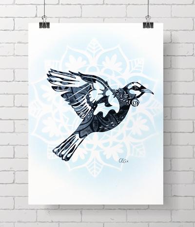 * Tui - handprinted A4 prints - 2 left