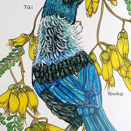 Tui + Kowhai A3 Print