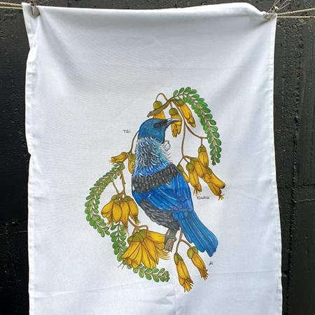 Tui + Kowhai Tea Towel