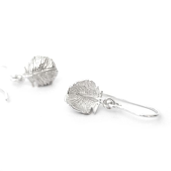 tui tuft tiny delicate feather light lightweight sterling silver earrings