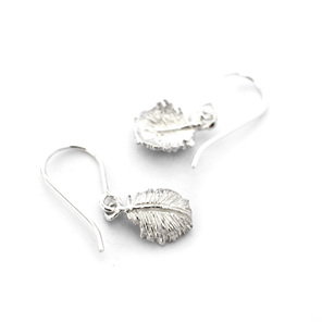 tui tuft white sterling silver tiny delicate feather dainty everyday earrings