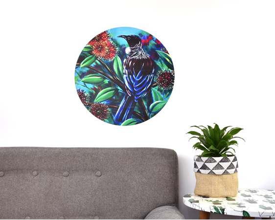 Tui wall art - large wall decal dot with couch and plant