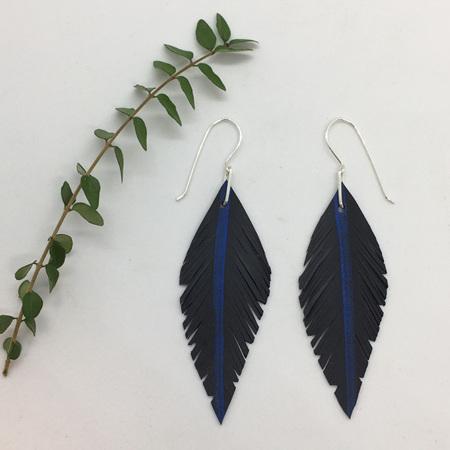 Tumeke Earrings with Blue Stripe