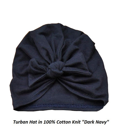 Turban Hat, Blue 100% Cotton Knit, 6 mths - Toddler size
