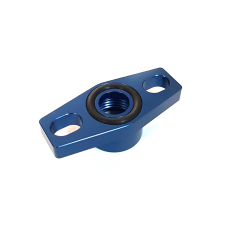 Turbo Drain Adapter -8AN ORB outlet, 36 to 47.5mm bolt centre, - Blue Finish