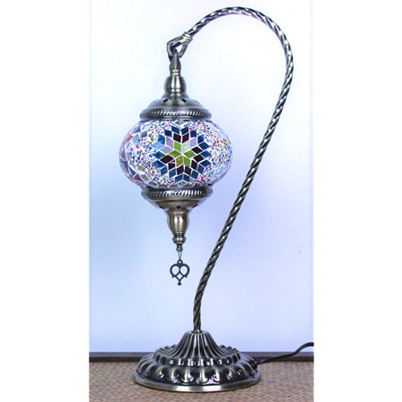Turkish Mosaic Large Swan Table Lamp Star Blast