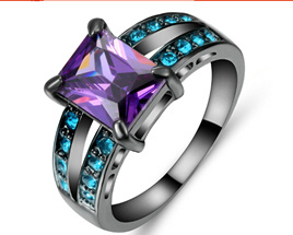 Turquoise & Amethyst Gemstone with Gunmetal Band Ring Size US8 (b383)