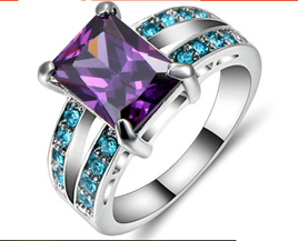 Turquoise & Amethyst Gemstone with Silver Band Ring Size US8 (b381)