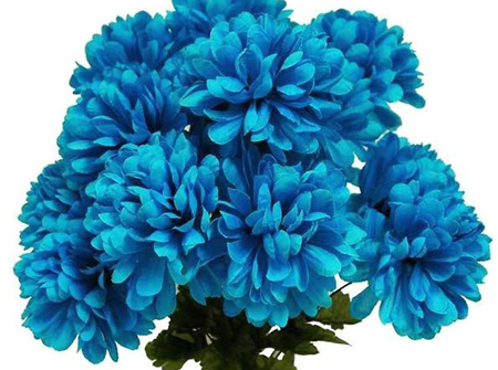 Turquoise Artificial Silk Chrysanthemum Flowers