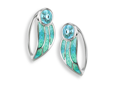 Blue Topaz Turquoise Enamel Leaf Earrings