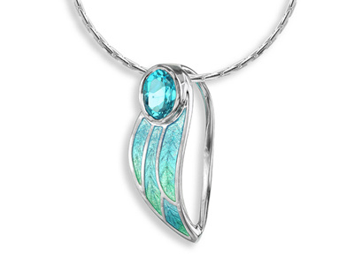 Blue Topaz Turquoise Enamel Leaf Necklace