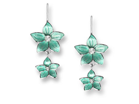Turquoise Enamel Topaz Flower Double Drop Earrings