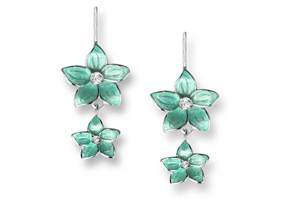 Turquoise Enamel Topaz Flower Double Drop Earrings