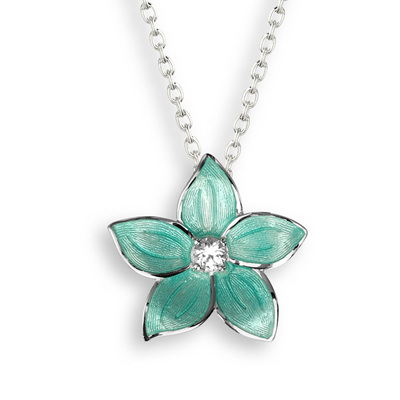 Turquoise Enamel Topaz Flower Necklace