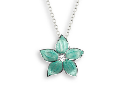 Turquoise Enamel Topaz Flower Necklace